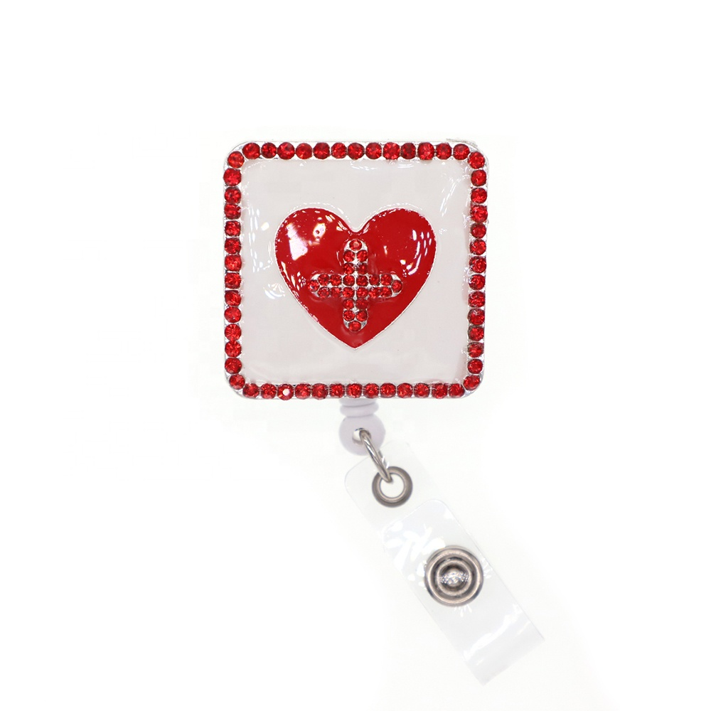 Enamel Medical Record Notebook Retractable ID Name Card Holder Badge Reel for Nurse, Red