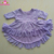 Wholesale Baby boutique dresses clothing party high low purple floral ruffle sleeve lace overlay tops dresses