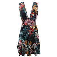 Summer 2019 New Women'S V-Neck Short Flower Print Sleeveless Dress Sexy Summer Dress