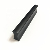 One-Piece-Shaped Matt Black Aluminum Alloy Small Furniture Cabinet Drawer Handle