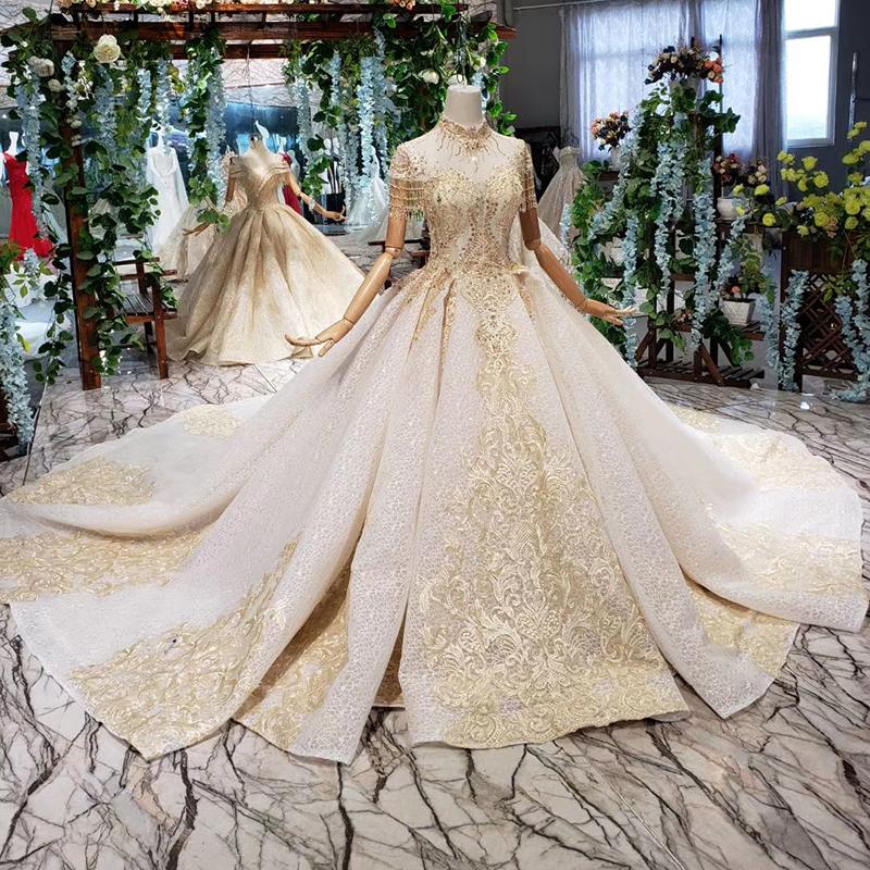 HTL369 cap sleeve high neck wedding crystal bridal dress princess bridal gowns tassel pictures wedding dresses, Champagne