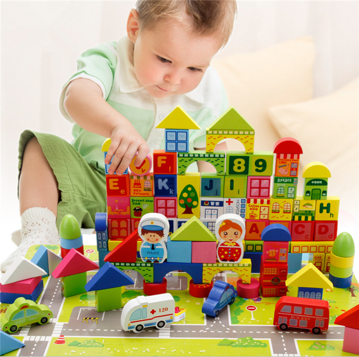 Building & Construction Toys Tireless 100pcs Children Early Educational Toys Wooden Domino Blocks Action Games For Learning Educational Toys For Children