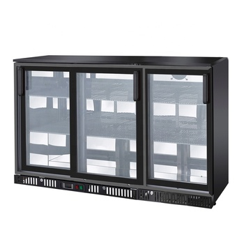 Black Color Commercial Beer Bar Refrigerator with 3 Sliding Doors Fancooling  Type 304L Capacity