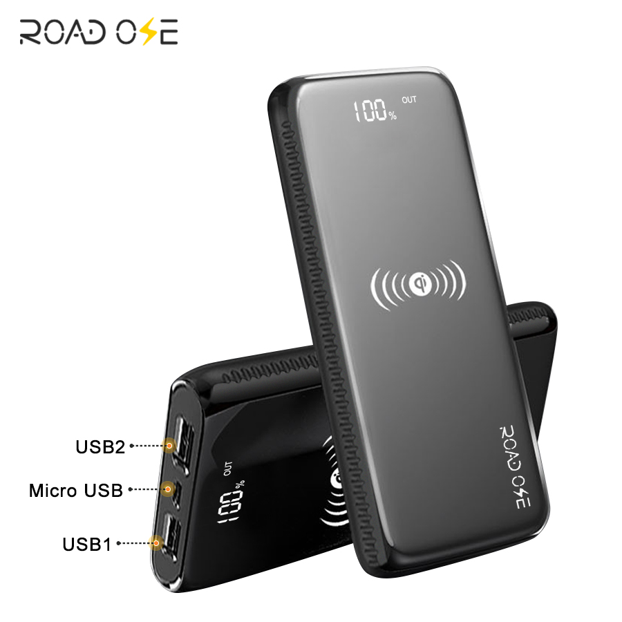 Direct Factory Price OEM ODM 10000mah Mobile Phone Portable Charger Wireless Charging Power Bank with LED Digital Data Display, Black