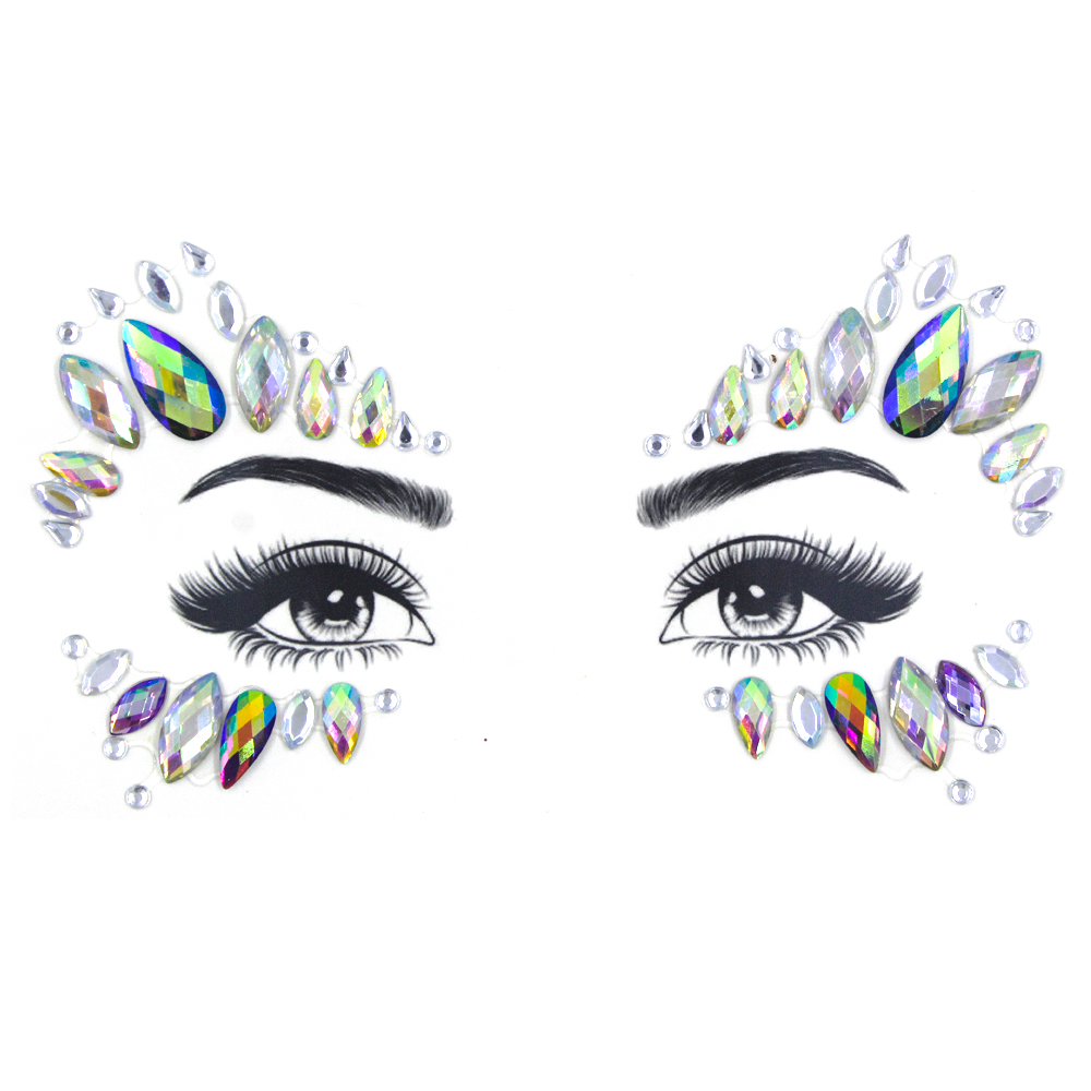Wholesale jewelry 2019 new product flash custom crystal stickers face jewels glitter for party festival christmas accessory