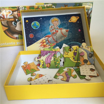 Custom simple paper cardboard children intelligent jigsaw puzzle pieces pictures brain games toys for kids
