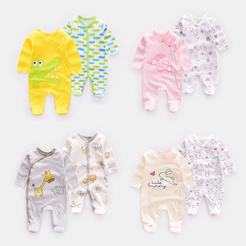 Factory wholesale NEW born baby boy jumpsuit 2 pcs packs cartoon baby clothing cotton series climbing suit in stock фото