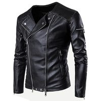 Custom Hot Sell Black Leather Jacket Coat Zipper and Ruched Men Motorcycle Jackets