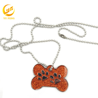 Custom Zinc Alloy Necklace Girl Dog Tag With Bradde Chain