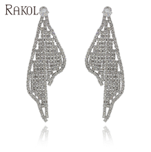 Rakol FE1008 bijoux zircon vague <span class=keywords><strong>style</strong></span> occidental argent dangle boucles d'oreilles de mode