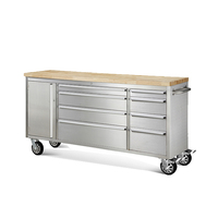High Quality Steel 72 Inch Wood Top Rolling Workshop Tool Cabinets