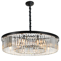 Round Shape Crystal Chandelier Lighting Lustres Luminaires Hanging Light for Restaurant Crystal American Style Lamp MD85051