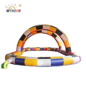 commercial inflatable round go karts race track for bumper cars/inflatable pony hop racing