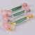 High quality New Natural Green and  PInk handle crystal  Metal Lock face Jade Roller facial Massager
