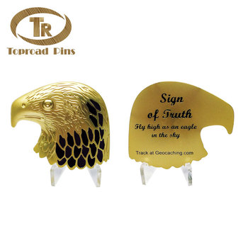 Antique style custom design the eagle head metal engrave logo  gold 3d challenge coin