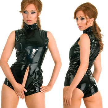 Black PVC shiny leather zip flat corner patent leather catsuit