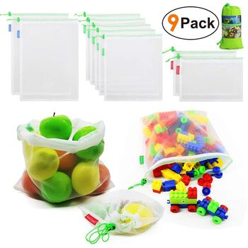 Reusable-Produce-Bags-Washable Zero Waste See Through Mesh  Bags for Grocery Shopping Storage Toys Large Medium Small