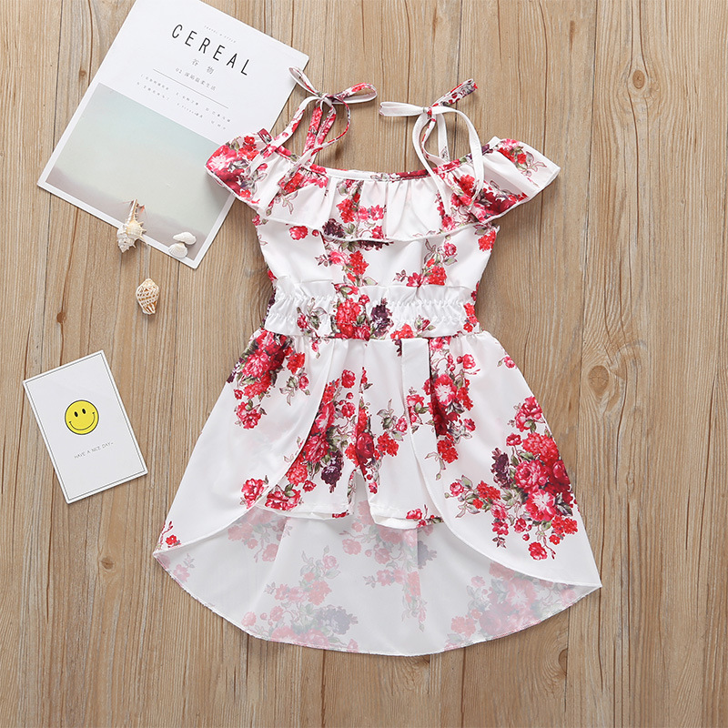 Girls Dress 2019 Summer New Designs Casual Kids Princess Dress Cotton Flower Pattern Bohemian Girl Sling Sleeveless Dress 6M-5Y, As picture