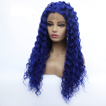 Deep Curly Lace Front Wig Bue Hair Heat Resistant Fibers Synthetic Lace Front Wig Glueless Half Hand Tied for All Women