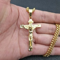 Christian Mens Stainless Steel Gold Plated Jesus Necklace Cross