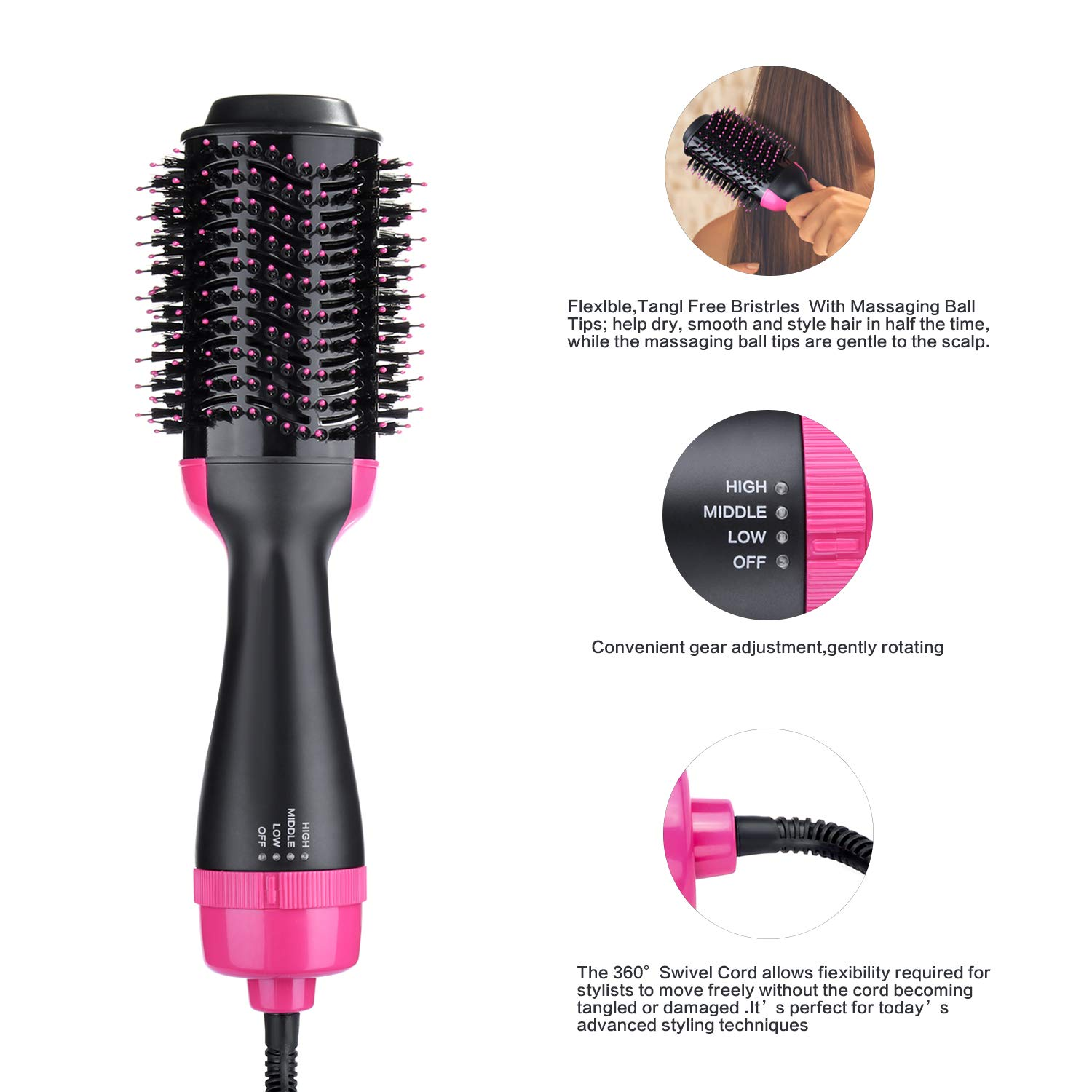 Professional 3 In 1 Hair Dryer & Volumizing Brush Stock One Step Hair Dryer And Styler Electric Hot Air Brush