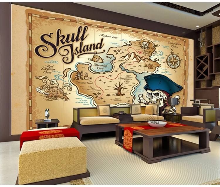 Vintage Cartoon Pirate Wallpaper Pirate Skull Wall Mural With Map