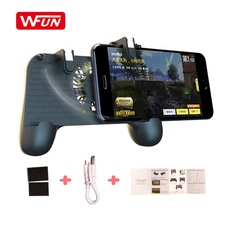 Factory Mobile Game Cooling Fan Pu bg Controller F1 Gamepad Mobile Trigger L1R1 Shooter Joystick Holder with 2000MAH Power Bank