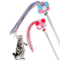 Wholesale cat kitten play fluffy ball velvet feather candy tassel fairy wand ringbell cat teasing stick interactive cat toy