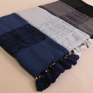 Muslim cotton hijab with tassels and lace beautiful lace hijabs scarfs for women