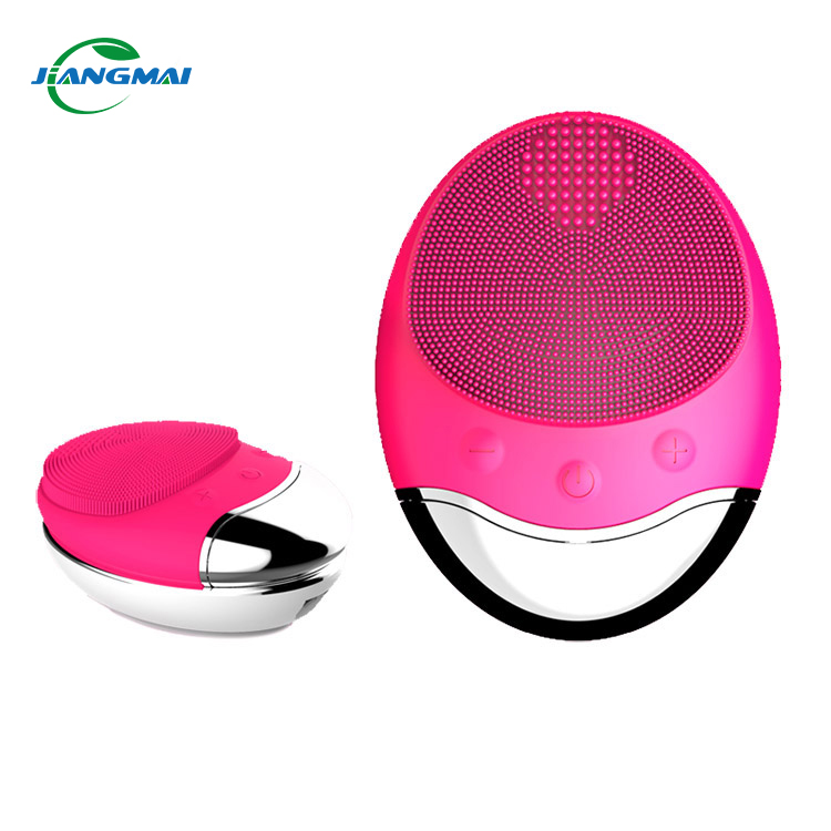 New Waterproof Face massage Cleansing Silicone Deep Pore Cleaning Brush Electric Sonic Vibration Mini Face Cleaner, Pink;purple;black;blue
