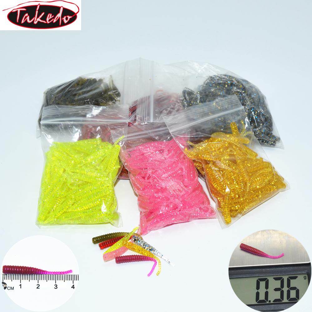Hot Fishing Bait LD04 4cm 0.35g 100pcs/bag Maggots Screw Body Bass Lures Musky Soft Worm Lures