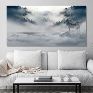 Wall Art Pictures Snow Mountain Plateau Wolf Paintings Animal Oil Paintings For Living Room Home Decor