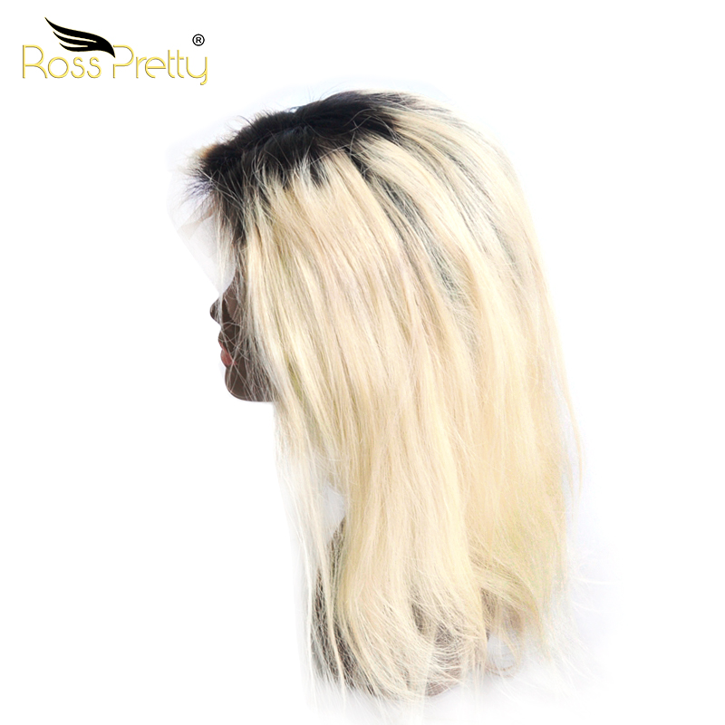 Ross Pretty 100% Human Hair Ombre 1B Color 613 Full Lace Straight Wig 360 Lace Frontal Wig