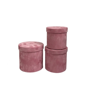 Wholesale Suede Luxury Round Flower Box, Velvet Box For Rose Packing