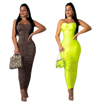 2019 latest hot sell European night club off shoulder crop top sexy ruffle neon green bodycon bandage dress