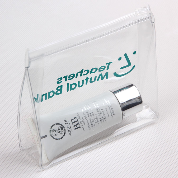 Transparent Custom Printed Brand Logo Clear PVC Zip lock Slider Plastic Bag For <strong>Cosmetic</strong>/Swimwear/Document Zipper Pouch