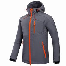 Hot Sales Custom Mannen Sport <span class=keywords><strong>Softshell</strong></span> Jassen Grijs Outdoor Camping Jassen Thermische Waterdicht Soft Shell <span class=keywords><strong>Jas</strong></span> Met Kap