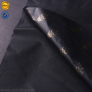 2019 Sinicline black gold foil stamping recycled tissue paper with company logo printing black tissue paper