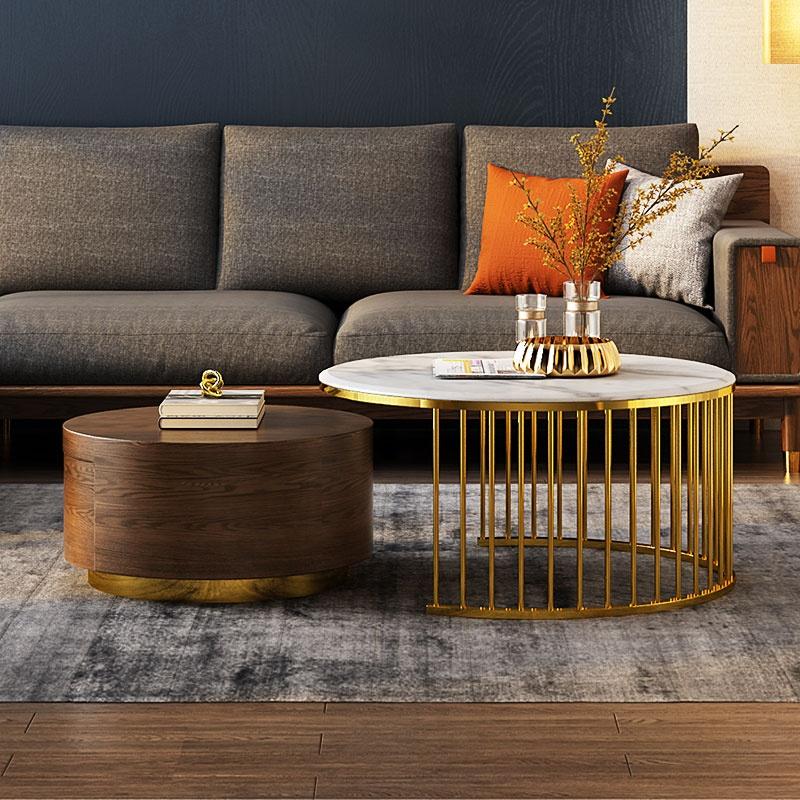 संगमरमर शीर्ष ठोस लकड़ी कॉफी टेबल धातु गोल्ड दौर आकार कमरे में रहने वाले फर्नीचर चाय की मेज के साथ भंडारण फैक्टरी थोक