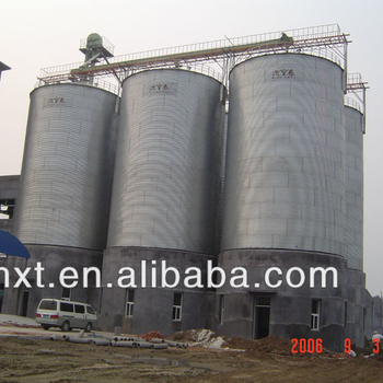 Shandong steel grain flour storage silos for sale with conveyor