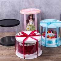 High Quality Transparent Black PET Plastic Round Extra Tall Decorative Cake Box
