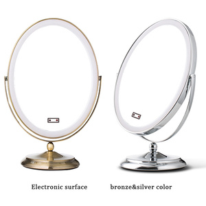 Wholesale LED Lighted Vanity Oval Desktop Metal Makeup Mirror