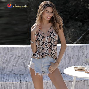 2019 summer woman clothes sexy snake printed spaghetti strap blouses and tops lady chinese clothing manufacturers