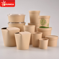 Disposable paper take away food box and cup
