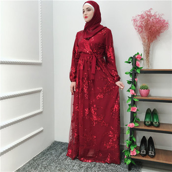 2019 Best Selling Ramadan EID Laxury Abaya Islamic Women's Maxi Long Lace Sequin Dress