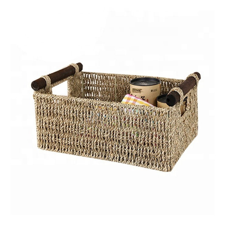 wholesale seagrass picnic vegetables basket with wood handles