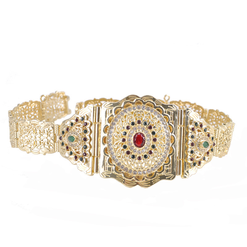New arrival Morocco Chic Caftan Dress Belt With Green And Red Rhinestone Wedding Jewelry Belt For Women