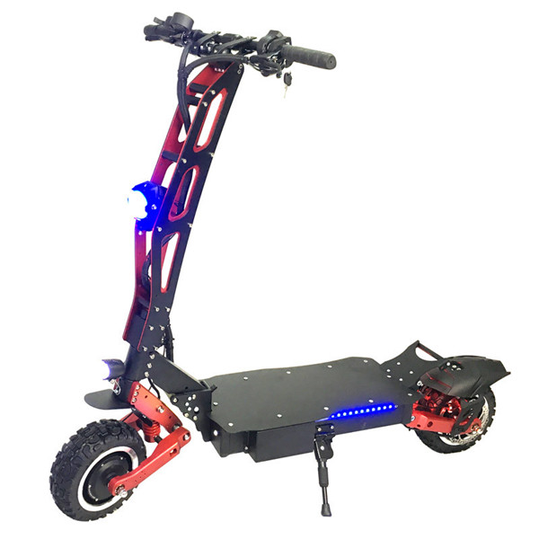 2019 powerful electric scooter 60v 5600w fat tire foldable dual motor electric scooter with strong power, Black+red