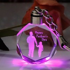 custom 3d laser engraving Crystal photo frame LED crystal keychain for Father's Day Gift