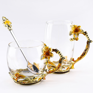 Creative Lily Enamel Cup Carved Diamond Flower Tea or Coffee Cup Crystal Heat Resistant Glass Water Cup